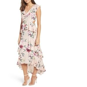 Leith Ruffle High Low Floral Maxi Dress